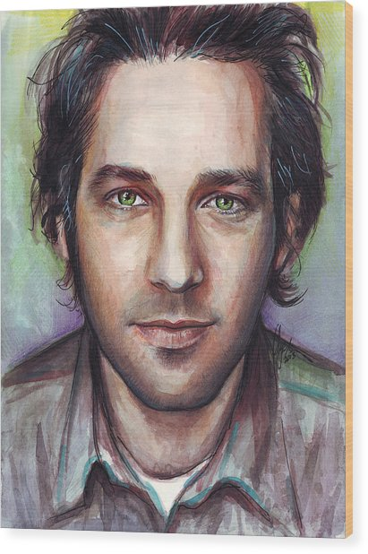 Paul Rudd Portrait Wood Print