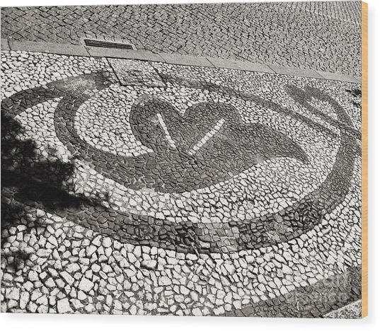 Wood Print featuring the photograph Pavement Detail Portugal by Menega Sabidussi
