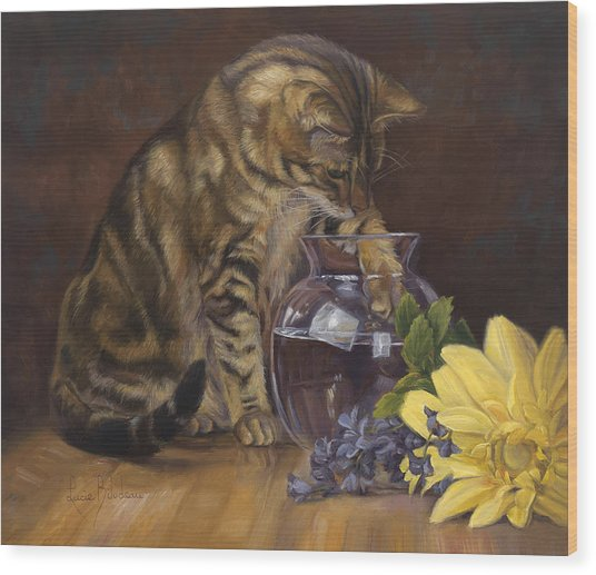 Paw In The Vase Wood Print