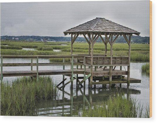Pawleys Creek Dock Wood Print