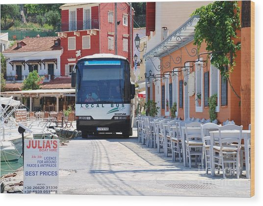 Paxos Island Bus Wood Print