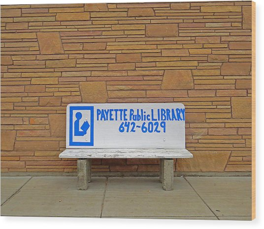 Payette Library Bench Wood Print