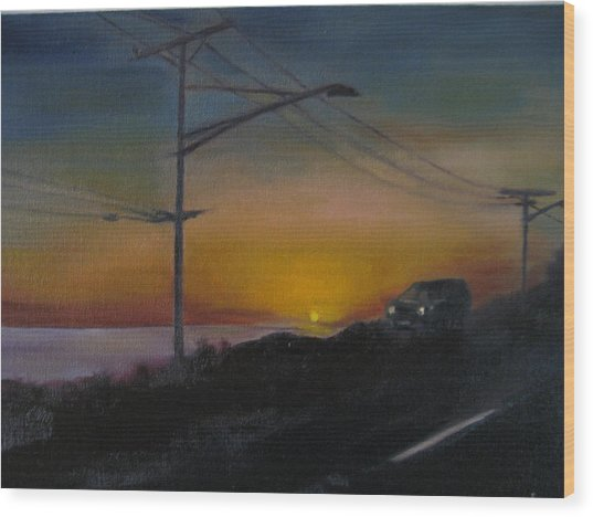 Pch At Night Wood Print