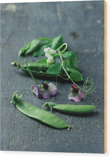 Pea Pods And Flowers Wood Print