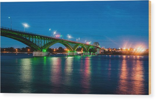 Wood Print featuring the photograph Peace Bridge And Buffalo Lights by Rosemary Legge