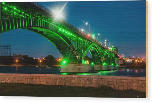 Wood Print featuring the photograph Peace Bridge From The Walking Path by Rosemary Legge