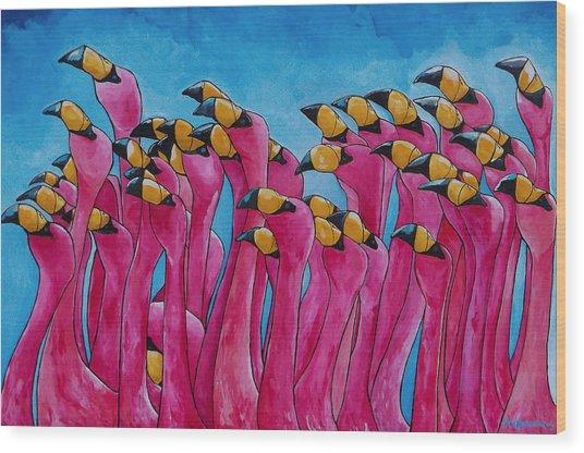 Peace Love And Flamingos Wood Print