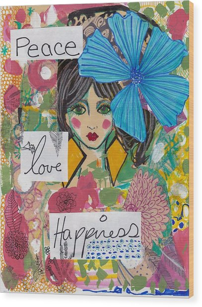 Peace Love Happiness Wood Print