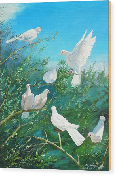 Peace On Earth Wood Print by Peter Jean Caley