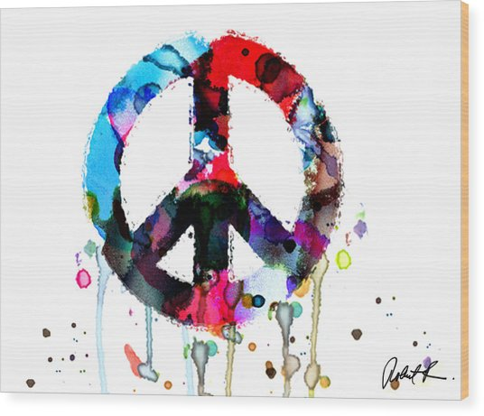 Peace Painting - Signed Art Abstract Paintings Modern Www.splashyartist.com Wood Print