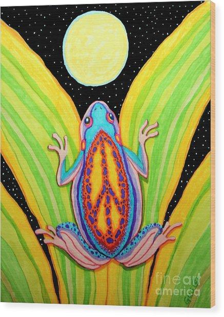 Peacefrog Full Moon Wood Print
