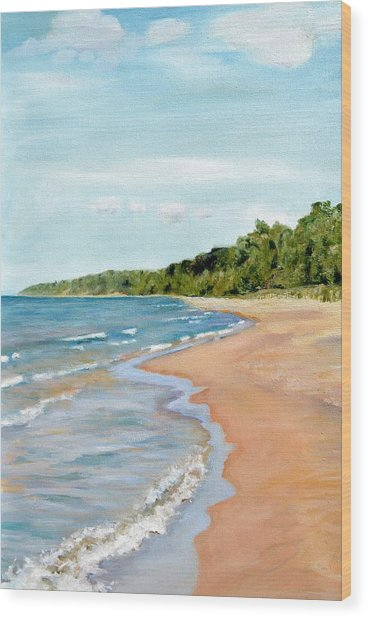 Peaceful Beach At Pier Cove Wood Print