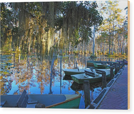 Peaceful Boat Landing By Jan Marvin Wood Print