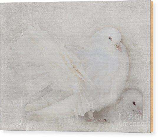 Peaceful Existence White On White Wood Print