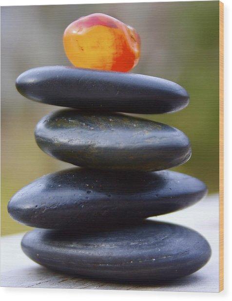 Peaceful Meditation Rocks Wood Print by Jennifer Lamanca Kaufman