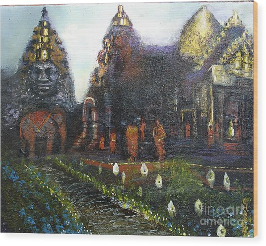 Peaceful Moment In Ankur Wat Wood Print
