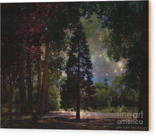 Magical Night At The River Wood Print