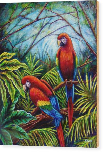 Peaceful Parrots Wood Print by Sebastian Pierre