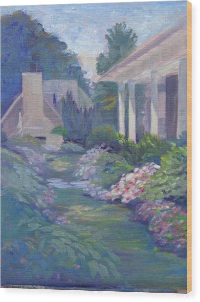 Peaceful Portico Wood Print by Judy Fischer Walton