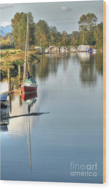 Peaceful River View Wood Print by Malu Couttolenc