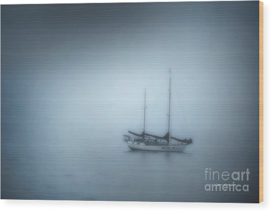 Peaceful Sailboat On A Foggy Morning From The Book My Ocean Wood Print