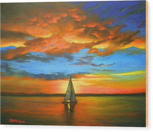 Peaceful Sailing Wood Print