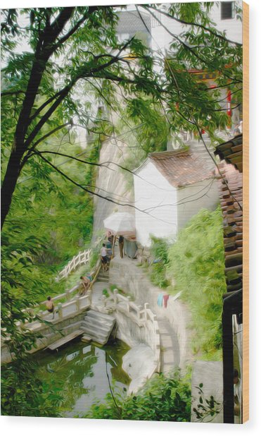 Peaceful Spot In China Wood Print