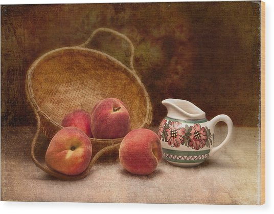 Peaches And Cream Still Life II Wood Print