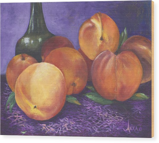 Peaches And Wine Wood Print