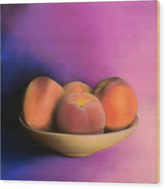 Peaches - Pastel Wood Print