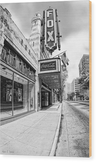 Wood Print featuring the photograph Peachtree Street And The Fox Theatre - Atlanta by Mark E Tisdale