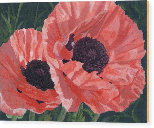 Peachy Poppies Wood Print