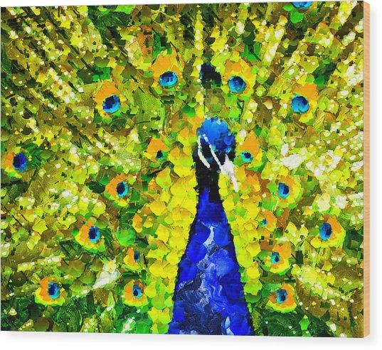 Peacock Abstract Realism Wood Print