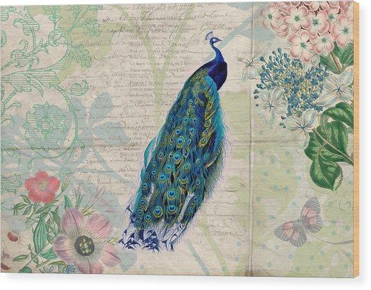 Peacock And Botanical Art Wood Print