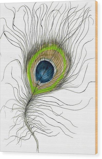Peacock Feather II Wood Print