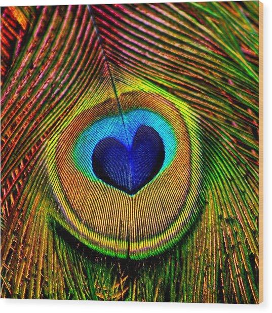 Peacock Feathers Eye Of Love Wood Print