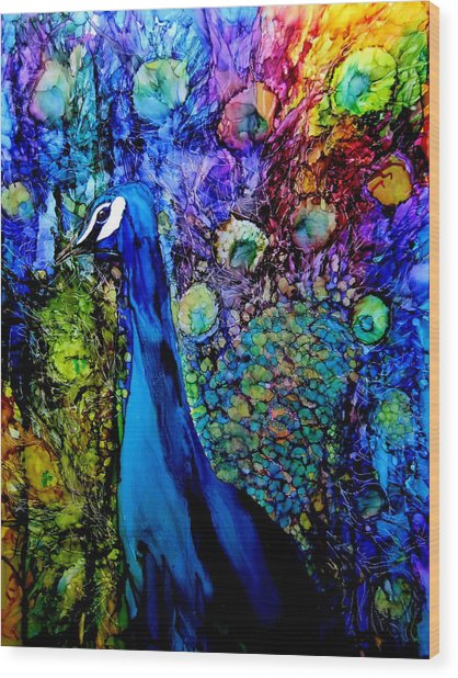 Peacock II Wood Print by Karen Walker