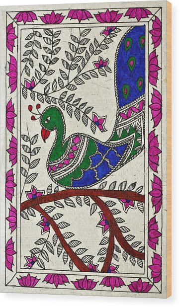 Peacock In Bloom Wood Print by Neha Dasgupta