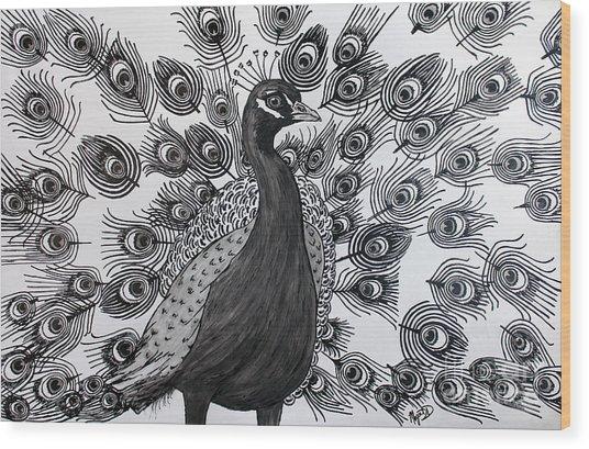 Peacock Walk Wood Print