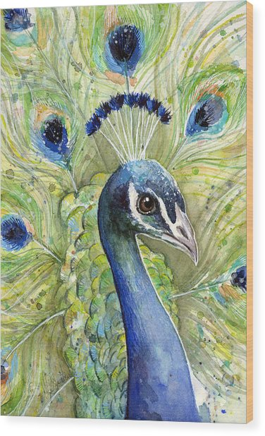 Peacock Watercolor Portrait Wood Print