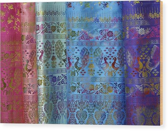 Peacocks On Silk Wood Print