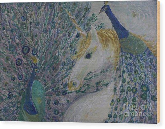 Peacocks With Unicorn Wood Print
