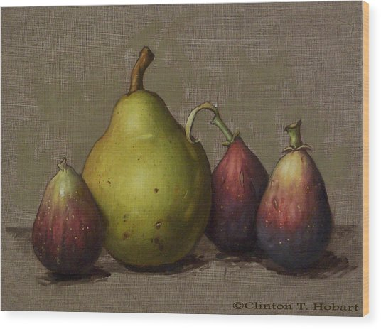 Pear And Figs Wood Print