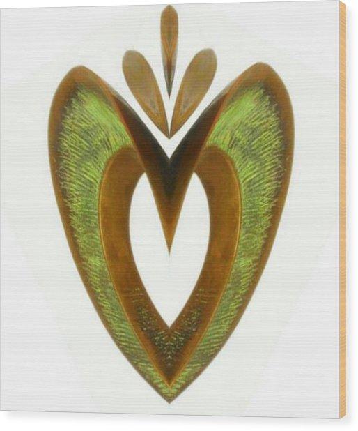 Pear Heart Wood Print