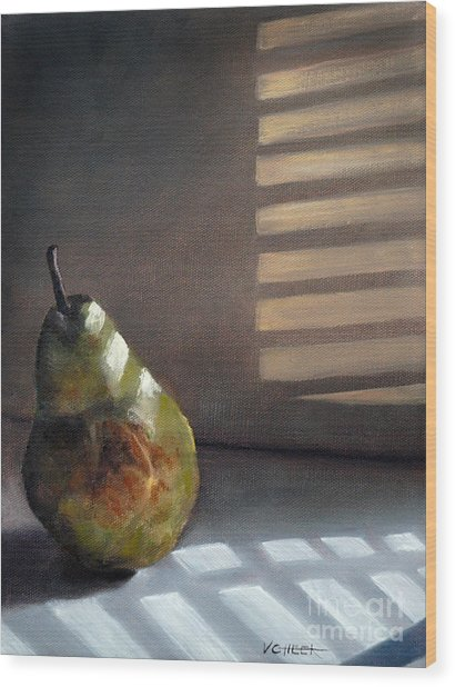 Pear In Morning Light Wood Print