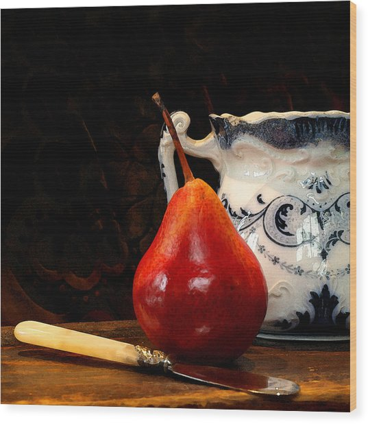 Pear Pitcher Knife Wood Print