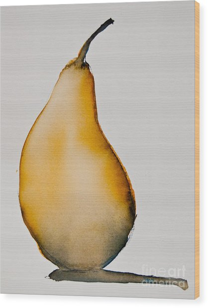 Wood Print featuring the painting Pear Study by Jani Freimann
