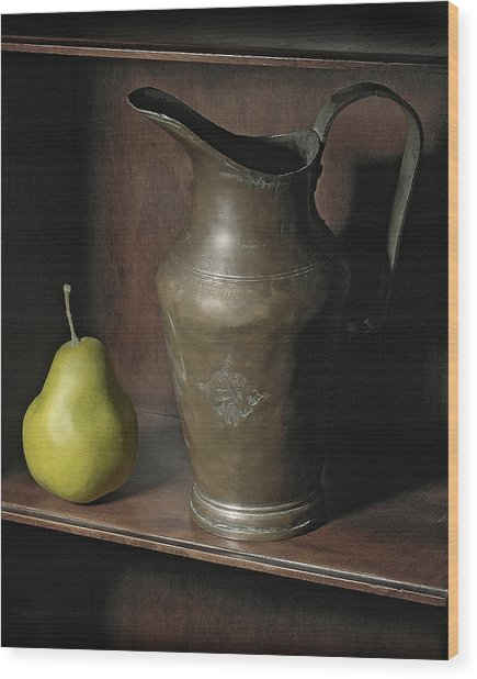 Pear With Water Jug Wood Print