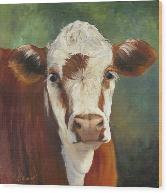 Pearl Iv Cow Painting Wood Print