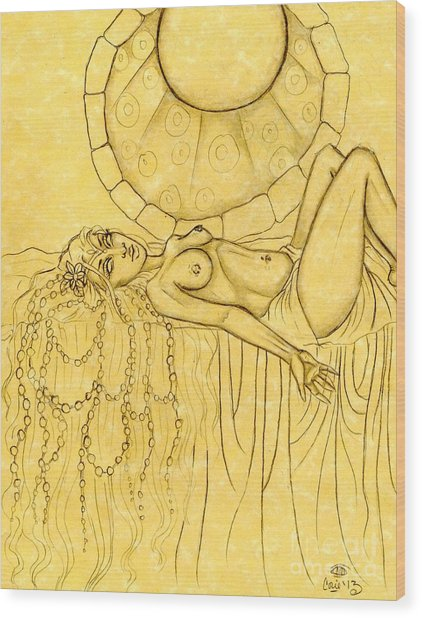 Pearls Entwined In Her Hair Sketch Wood Print by Coriander  Shea